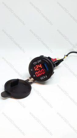Autós 12V 24V szivargyújtó feszültségmérő, ampermérő USB QC3.0 okostelefon töltő Piros LED