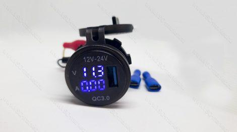 Autós 12V 24V szivargyújtó feszültségmérő, ampermérő USB QC3.0 okostelefon töltő kék LED