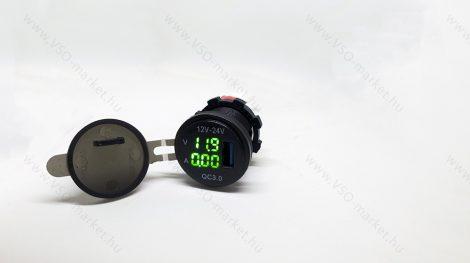 Autós 12V 24V szivargyújtó feszültségmérő, ampermérő USB QC3.0 okostelefon töltő Zöld LED