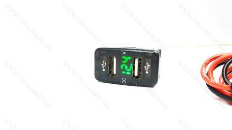 Autós 12V 24V beépíthető dupla USB töltő, voltmérő, tablet és okostelefon, telefon töltő, Zöld
