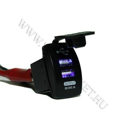 Autós 12V 24V beépíthető dupla USB töltő, flipp kupak, tablet és okostelefon, telefon töltő, Kék