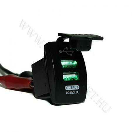 Autós 12V 24V beépíthető dupla USB töltő, flipp kupak, tablet és okostelefon, telefon töltő, Zöld
