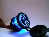 Autós 12V 24V beépíthető dupla USB töltő, tablet és okostelefon, telefon töltő, Kék
