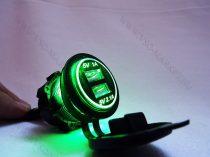 Autós 12V 24V beépíthető dupla USB töltő, tablet és okostelefon, telefon töltő, Zöld