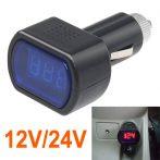 Autós 12V 24V szivargyújtó feszültségmérő
