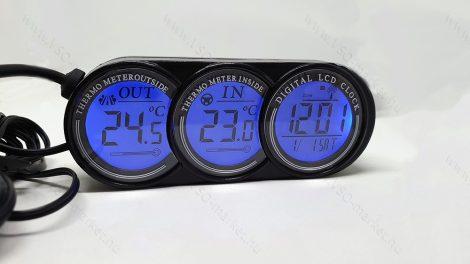 Autós szivargyújtó feszültségmérő, voltmérő, hőmérő óra Kék és Narancs LED