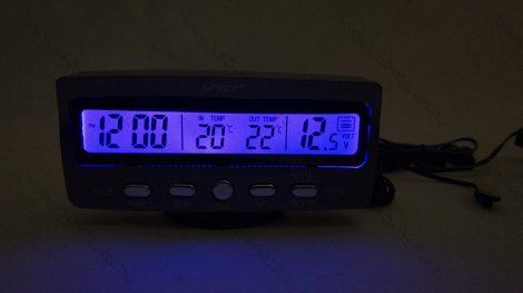 Autós szivargyújtó feszültségmérő, voltmérő, külső belső hőmérő óra és ébresztő Kék LED