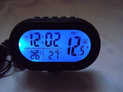 Autós szivargyújtó feszültségmérő, voltmérő, hőmérő óra és ébresztő Kék LED