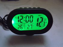 Autós szivargyújtó feszültségmérő, voltmérő, hőmérő óra és ébresztő zöld LED
