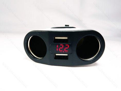 Autós feszültségmérő, 12V 24V szivargyújtó feszültségmérő, USB okostelefon töltő piros LED Fehér