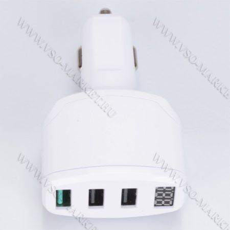 Autós feszültségmérő, 12V 24V szivargyújtó feszültségmérő, 3db USB okostelefon töltő Fehér
