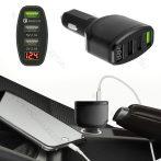 Autós feszültségmérő, 12V 24V szivargyújtó feszültségmérő, 3db USB okostelefon töltő