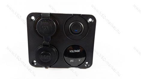Autós 12V 24V feszültségmérő, voltmérő, beépíthető 4 részes panel, USB töltő, szivargyújtó, Kék LED