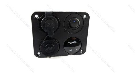 Autós 12V 24V feszültségmérő, voltmérő, beépíthető 4 részes panel, USB töltő, szivargyújtó, Zöld LED