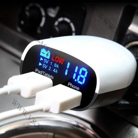 Autós szivargyújtó töltő, 12V 24V feszültségmérő, USB okostelefon töltő LED, állítható dőlőlészög