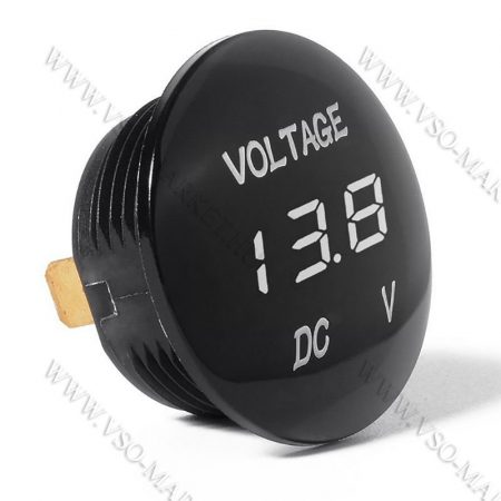Autós 12V 24V feszültségmérő, voltmérő, beépíthető, Fehér LED