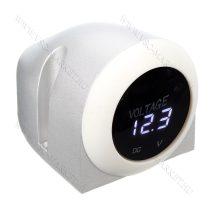 Autós 12V 24V feszültségmérő, voltmérő ház, beépíthető, Fehér LED