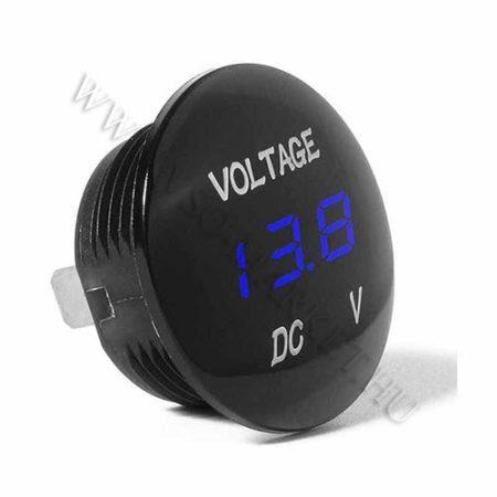 Autós 12V 24V feszültségmérő, voltmérő, beépíthető, Kék LED