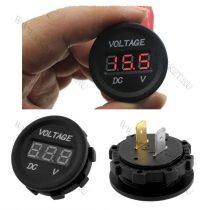Autós 12V 24V feszültségmérő, voltmérő, beépíthető, Piros LED