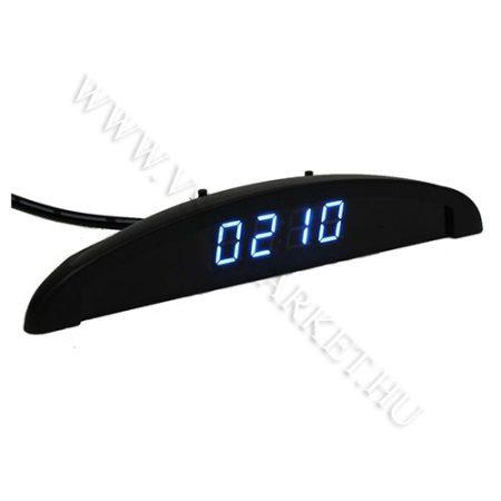 Autós szivargyújtó feszültségmérő, voltmérő, hőmérő óra Kék LED