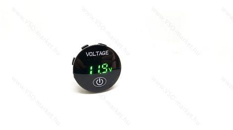 Autós 12V 24V feszültségmérő, teljesítmény mérő, voltmérő, beépíthető, Zöld LED