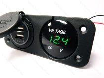 Autós 12V 24V feszültségmérő, voltmérő, beépíthető panel, USB töltő Zöld LED