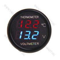Autós hőmérő, 12V 24V szivargyújtó feszültségmérő, kék LED