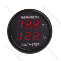 Autós hőmérő, 12V 24V szivargyújtó feszültségmérő, piros LED