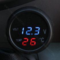 Autós hőmérő, 12V 24V szivargyújtó feszültségmérő, USB töltő kék LED