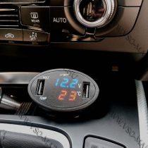 Autós hőmérő, 12V 24V szivargyújtó feszültségmérő, USB okostelefon töltő kék LED