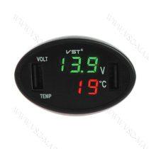 Autós hőmérő, 12V 24V szivargyújtó feszültségmérő, USB okostelefon töltő Zöld LED