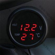 Autós hőmérő, 12V 24V szivargyújtó feszültségmérő, hőmérős, USB töltő piros LED