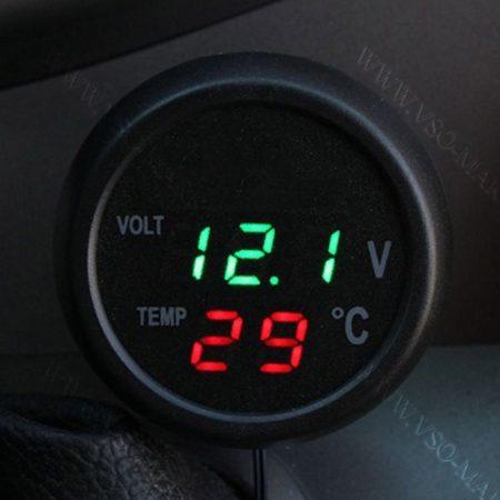 Autós hőmérő, 12V 24V szivargyújtó feszültségmérő, USB töltő zöld LED
