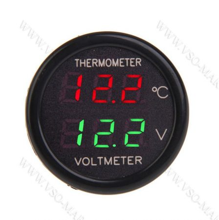 Autós hőmérő, 12V 24V szivargyújtó feszültségmérő, Zöld LED