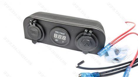 Autós 12V 24V feszültségmérő, voltmérő, beépíthető tripla panel, USB töltő Piros LED