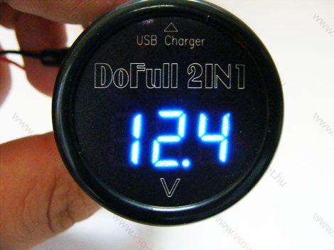 Autós 12V 24V szivargyújtó feszültségmérő USB töltő, kék LED