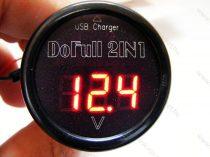 Autós 12V 24V szivargyújtó feszültségmérő USB töltő, Piros LED
