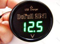 Autós 12V 24V szivargyújtó feszültségmérő USB töltő, Zöld LED