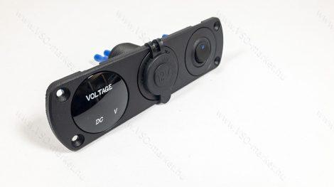 Autós 12V 24V feszültségmérő, voltmérő, beépíthető tripla panel, USB töltő kék LED