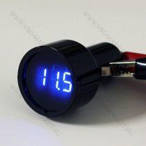 Autós 12V 24V szivargyújtó fekete feszültségmérő, KÉK LED