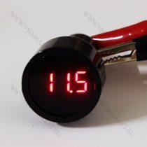 Autós 12V 24V szivargyújtó fekete feszültségmérő, Piros LED