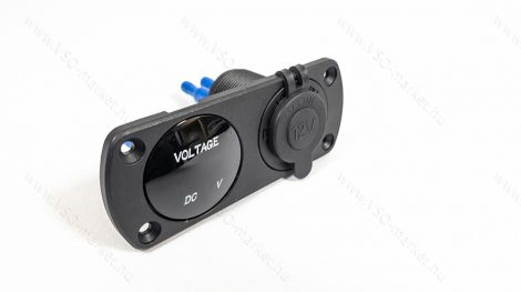 Autós 12V 24V feszültségmérő, voltmérő, beépíthető dupla panel, szivargyújtó Fehér LED