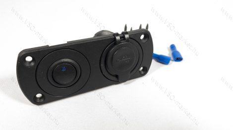 Dupla USB töltő, beépíthető dupla panel, USB töltő Kék LED