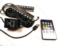 Autó lábtér RGB LED világítás, 4x9 LED, távirányítós 5050 LED, USB hang vezérelt