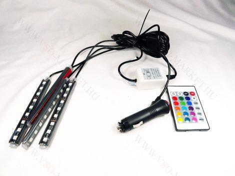 Autó lábtér RGB LED világítás, 4x9 LED, távirányítós 5050 LED