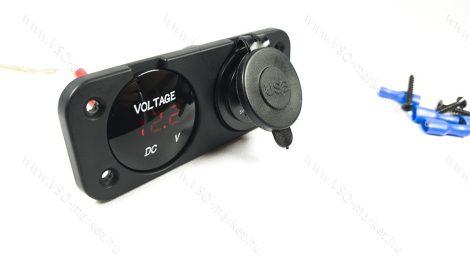 Autós 12V 24V feszültségmérő, voltmérő, beépíthető dupla panel, USB töltő Piros LED