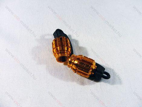 Szelepsapka kézigránát, gránát alakú kupak, arany, 2db