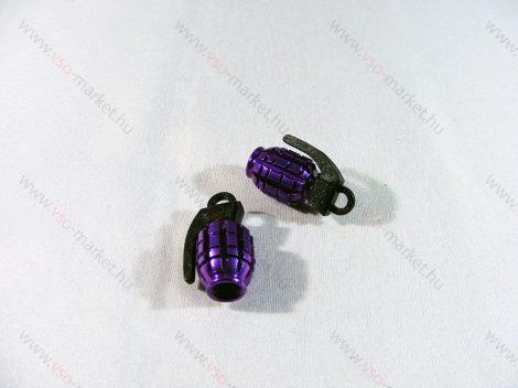 Szelepsapka kézigránát, gránát alakú kupak, lila, 2db