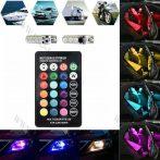 RGB T10 LED, autó LED, változtatható színű távirányítós, egy pár T10