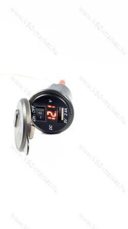 Autós 12V 24V beépíthető USB töltő, autós voltmérő, telefon töltő, Piros